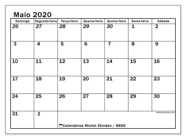 Calendário maio 2020, 66DS. Calendário para imprimir livre.