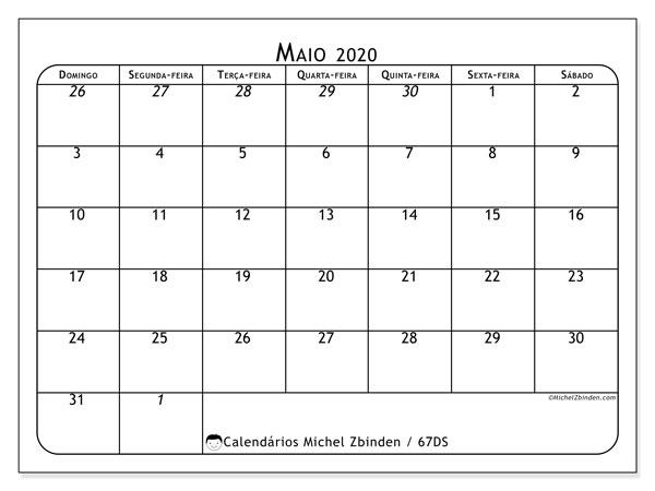 Calendário maio 2020, 67DS. Calendário para imprimir gratuitamente.