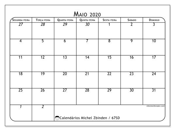 Calendário maio 2020, 67SD. Horário para imprimir livre.