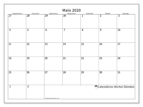 Calendário maio 2020, 70SD. Calendário para imprimir gratuitamente.