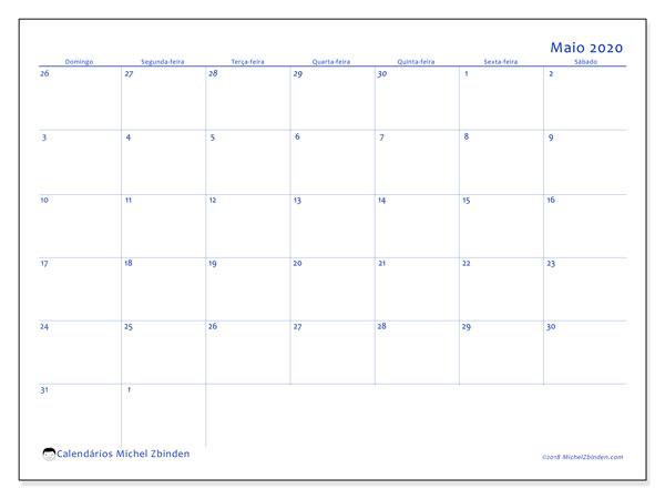 Calendário maio 2020, 73DS. Calendário para imprimir livre.
