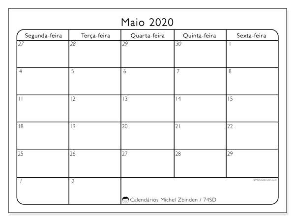 Calendário maio 2020, 74SD. Calendário para o mês para imprimir livre.