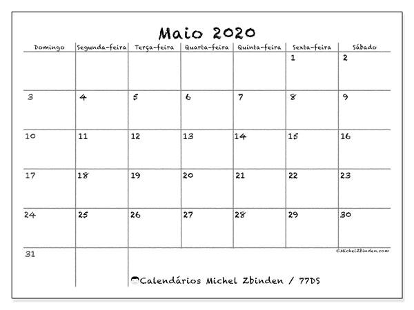 Calendário maio 2020, 77DS. Calendário mensal para imprimir gratuitamente.