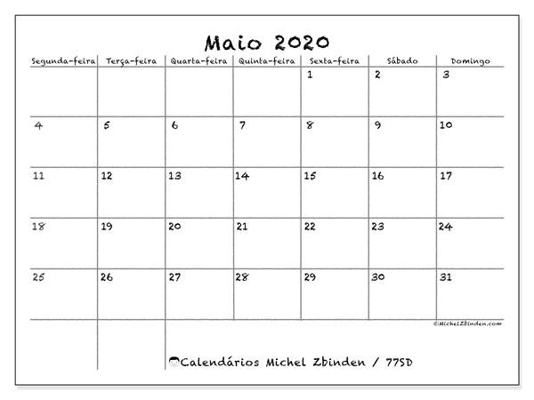 Calendário maio 2020, 77SD. Horário para imprimir livre.