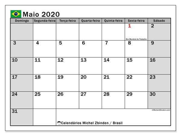 Calendário em maio  de 2020, com feriados públicos do Brasil. Horário para imprimir livre.