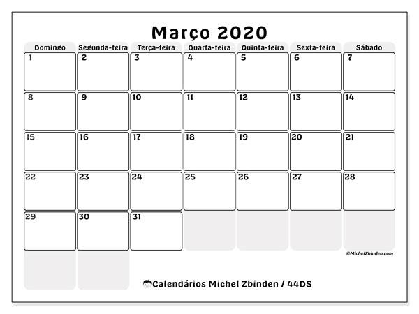 Calendário março 2020, 44DS. Calendário para o mês para imprimir livre.