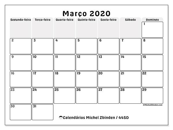 Calendário março 2020, 44SD. Agenda para imprimir livre.