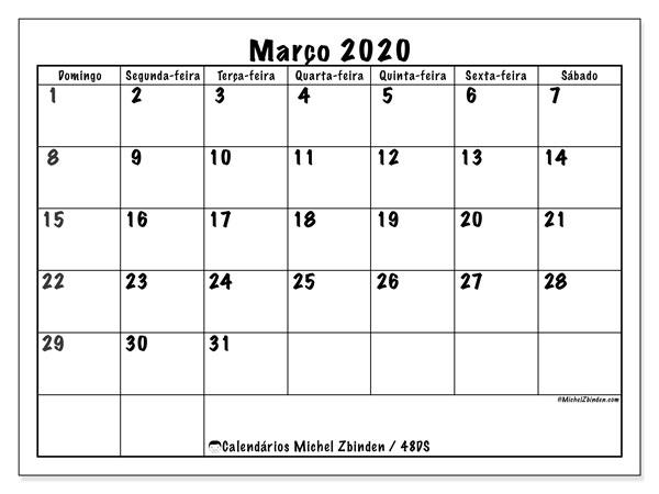 Calendário março 2020, 48DS. Calendário para imprimir livre.