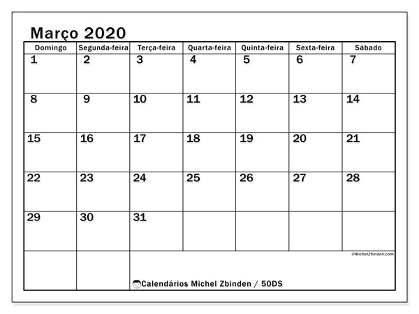 Calendário março 2020, 50DS. Horário para imprimir livre.