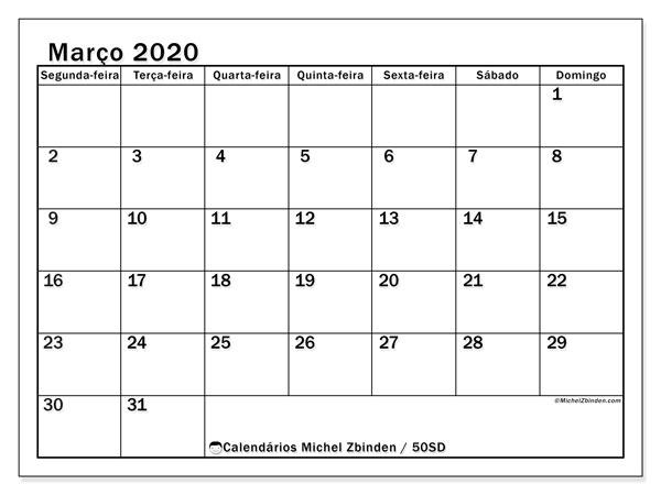 Calendário março 2020, 50SD. Calendário para o mês para imprimir livre.