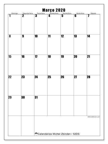 Calendário março 2020, 52DS. Calendário mensal para imprimir gratuitamente.