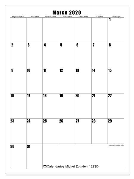 Calendário março 2020, 52SD. Calendário para o mês para imprimir livre.