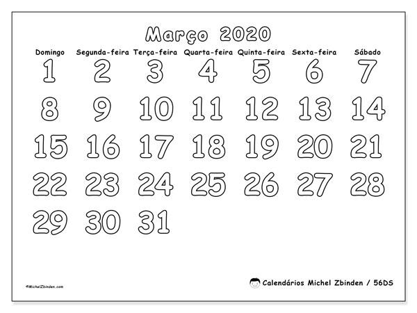 Calendário março 2020, 56DS. Calendário mensal para imprimir gratuitamente.