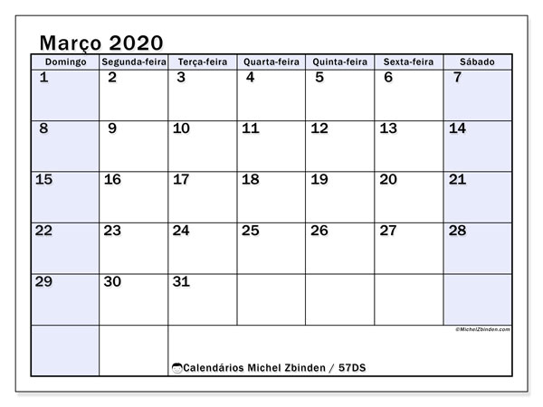Calendário março 2020, 57DS. Calendário mensal para imprimir gratuitamente.