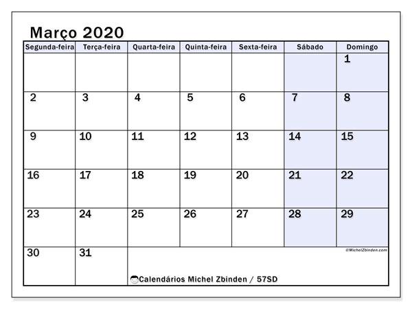 Calendário março 2020, 57SD. Agenda para imprimir livre.