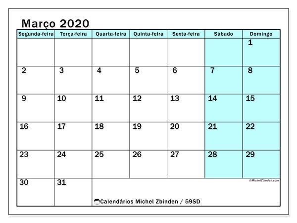 Calendário março 2020, 59SD. Calendário para imprimir livre.