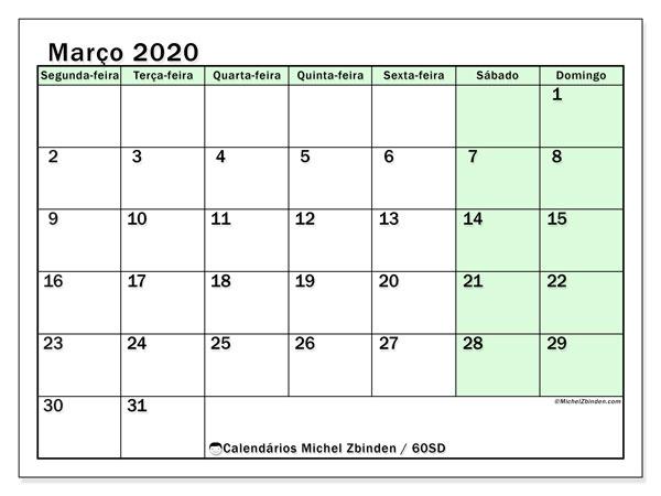 Calendário março 2020, 60SD. Horário para imprimir livre.