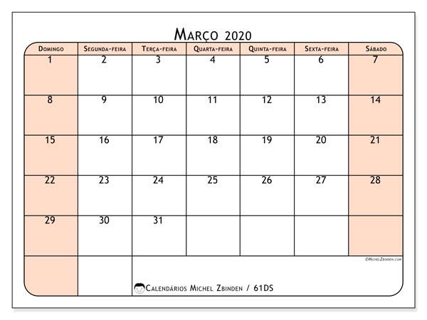 Calendário março 2020, 61DS. Calendário gratuito para imprimir.