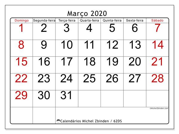 Calendário março 2020, 62DS. Calendário para imprimir gratuitamente.