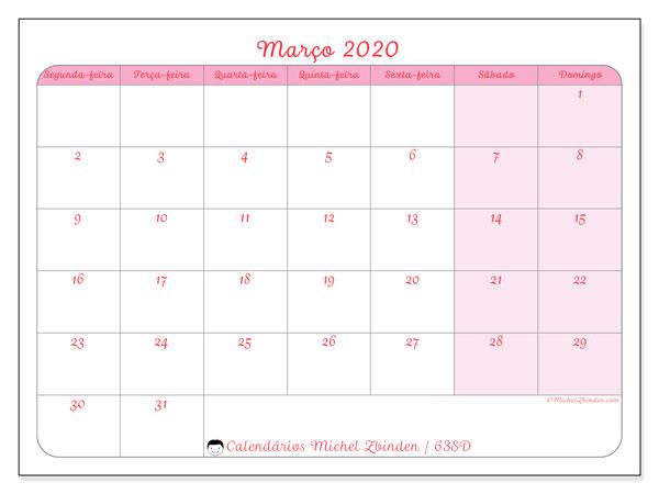 Calendário março 2020, 63SD. Horário para imprimir livre.