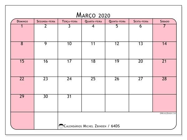 Calendário março 2020, 64DS. Calendário para o mês para imprimir livre.