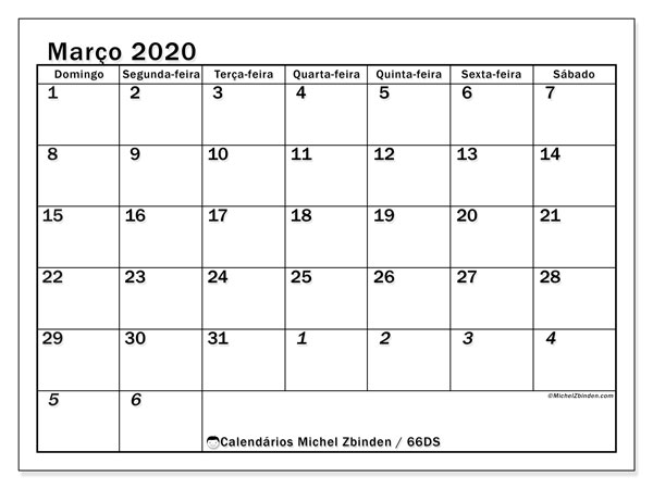 Calendário março 2020, 66DS. Calendário para o mês para imprimir livre.