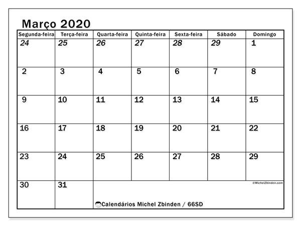 Calendário março 2020, 66SD. Calendário para o mês para imprimir livre.