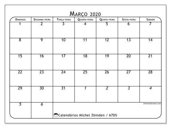 Calendário março 2020, 67DS. Calendário para o mês para imprimir livre.