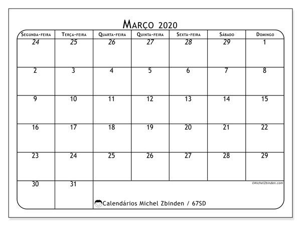 Calendário março 2020, 67SD. Calendário para o mês para imprimir livre.