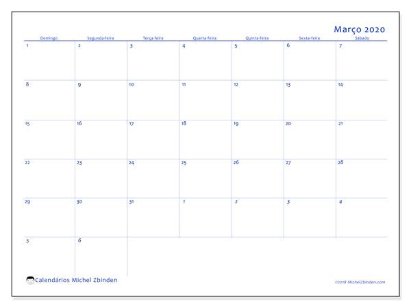 Calendário março 2020, 73DS. Calendário gratuito para imprimir.