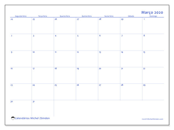 Calendário março 2020, 73SD. Horário para imprimir livre.