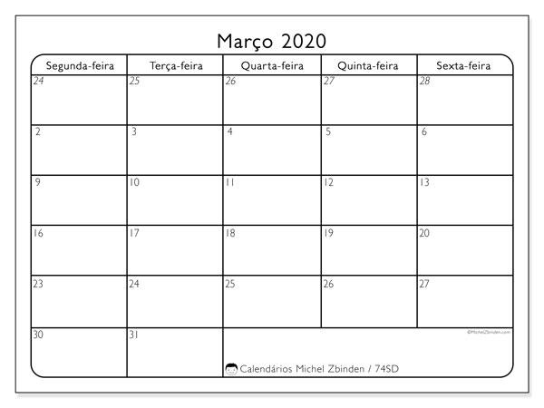 Calendário março 2020, 74SD. Calendário mensal para imprimir gratuitamente.