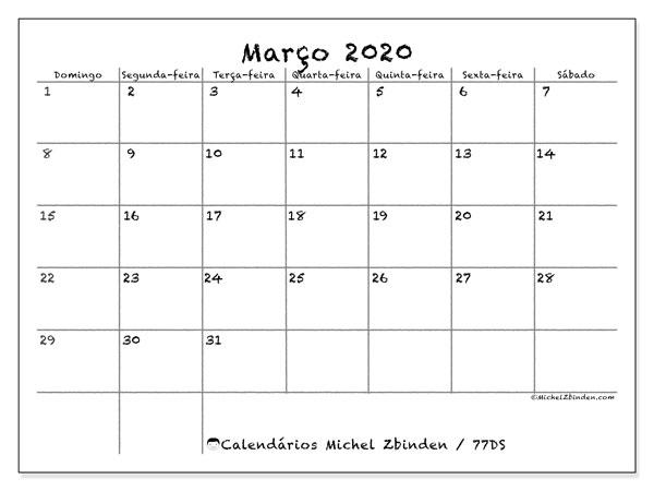 Calendário março 2020, 77DS. Horário para imprimir livre.