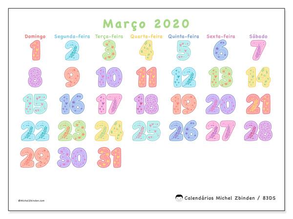 Calendário março 2020, 83DS. Calendário para o mês para imprimir livre.
