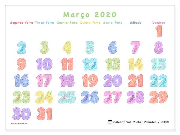 Calendário março 2020, 83SD. Agenda para imprimir livre.
