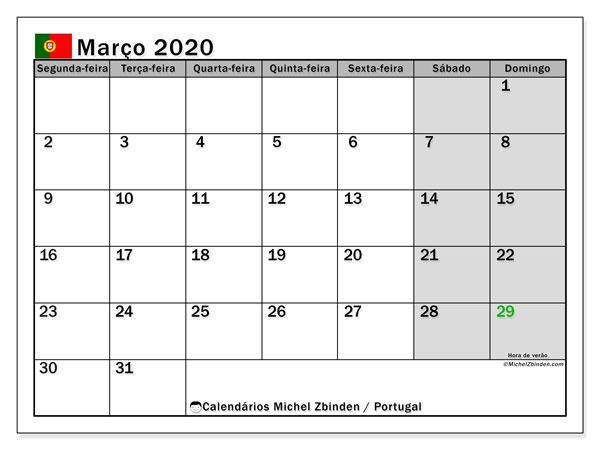Calendário em março  de 2020, com feriados públicos em Portugal. Calendário mensal para imprimir gratuitamente.