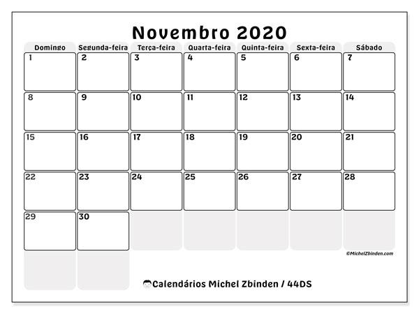 Calendário novembro 2020, 44DS. Calendário gratuito para imprimir.