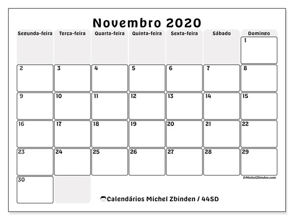 Calendário novembro 2020, 44SD. Calendário para imprimir livre.