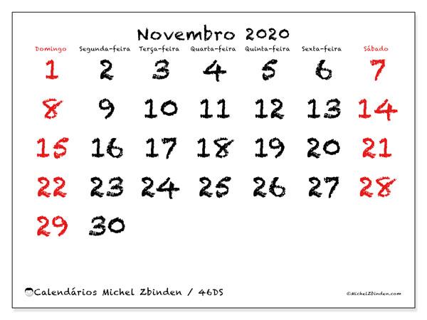Calendário novembro 2020, 46DS. Calendário para imprimir livre.