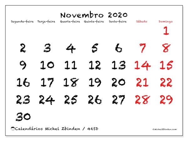 Calendário novembro 2020, 46SD. Calendário gratuito para imprimir.