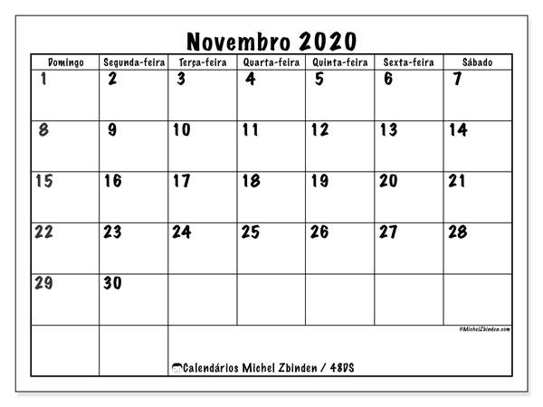 Calendário novembro 2020, 48DS. Agenda para imprimir livre.