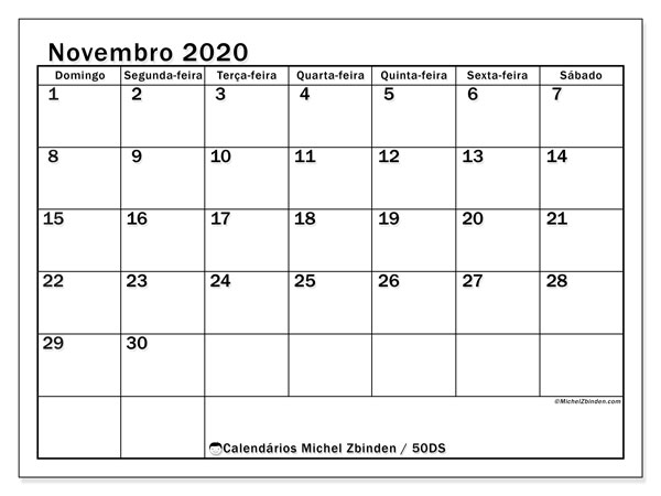 Calendário novembro 2020, 50DS. Calendário para o mês para imprimir livre.