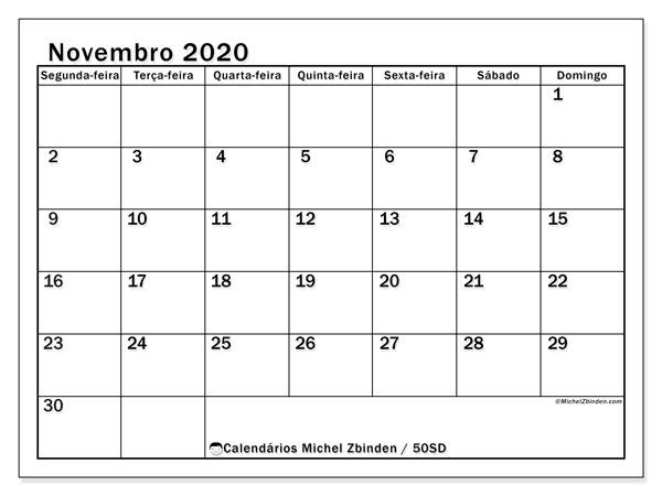 Calendário novembro 2020, 50SD. Calendário mensal para imprimir gratuitamente.