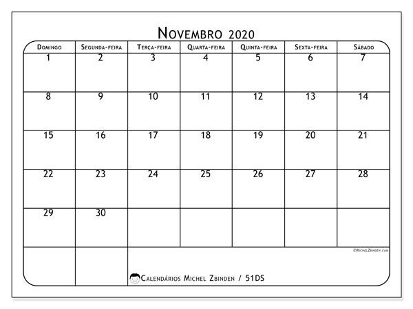 Calendário novembro 2020, 51DS. Calendário mensal para imprimir gratuitamente.
