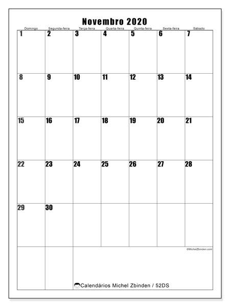 Calendário novembro 2020, 52DS. Calendário para imprimir livre.