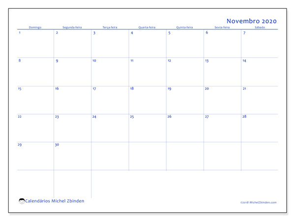 Calendário novembro 2020, 55DS. Calendário para o mês para imprimir livre.
