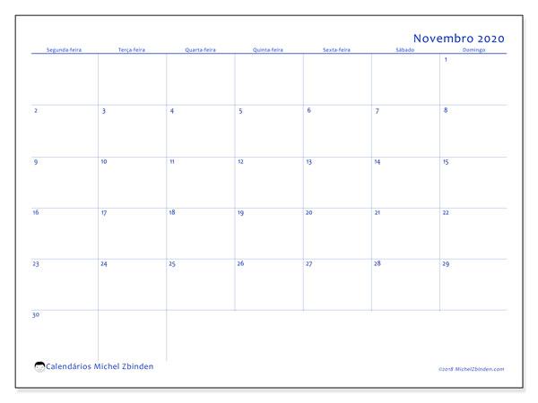 Calendário novembro 2020, 55SD. Agenda para imprimir livre.