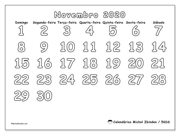 Calendário novembro 2020, 56DS. Calendário gratuito para imprimir.