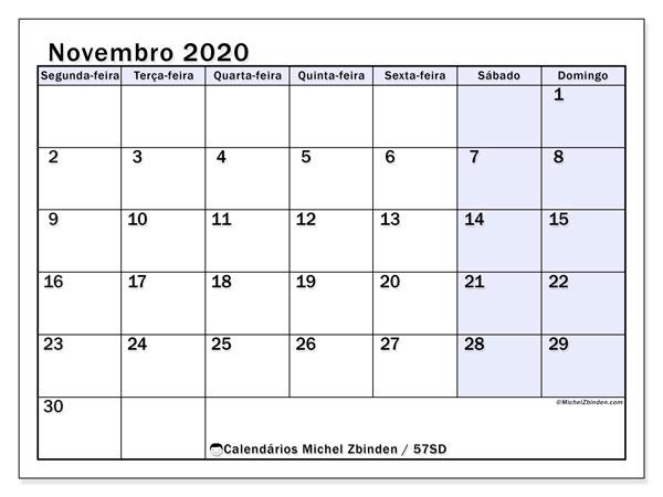 Calendário novembro 2020, 57SD. Calendário mensal para imprimir gratuitamente.