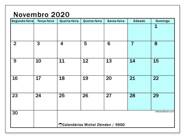 Calendário novembro 2020, 59SD. Agenda para imprimir livre.